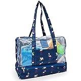 Aperil Strandtasche für Frauen Mit Reißverschluss Strand Einkaufstasche Wasserdicht für...
