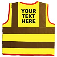 Bespoke/Own Text Baby/Children/Kids Hi Vis Safety Jacket/Vest Size 4-6 Years Yellow Optional Personalised On Front