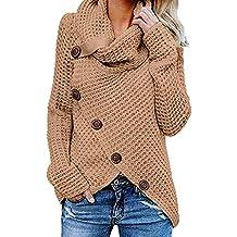 SHOBDW Mujer Moda Primavera Otoño Botón Casual Sobredimensionado Tallas largas Camisetas de Manga Larga Suéter sólido