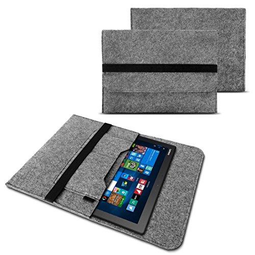NAUC Tasche Hülle für Acer Switch Alpha 12 Filz Sleeve Schutzhülle Laptop Case Cover Notebook aus Filz in Grau mit Innentaschen sicheren Verschluss