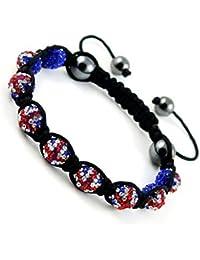 Shamballa Bracelet Union Jack Support Team GB Disco Ball Friendship Bead Unisex Bracelets Swarovski Crystal Beads