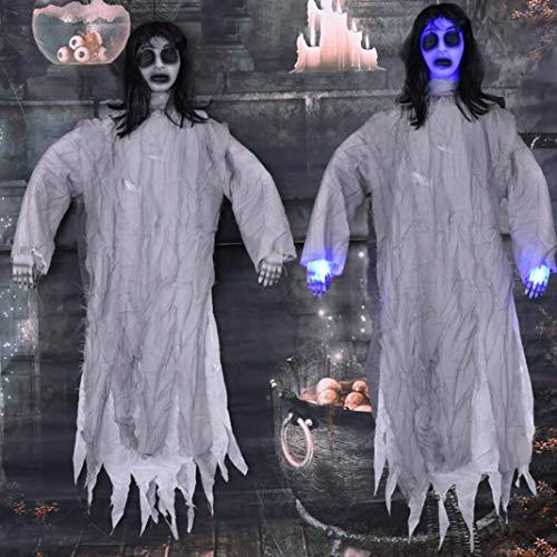 Steellwingsf Scary Sound Light Hängender Geist Spukhaus Bar Halloween Party Requisiten Dekor - Grau (Elektronik-sound-bars)