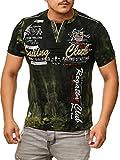 Herren T-Shirt mit Knopfleiste | Verwaschen V-Neck Kurzarm mit Gestickten Details |Sportlich | Elegant Sailing Slim Fit 2879 (M-Slim, Khaki)