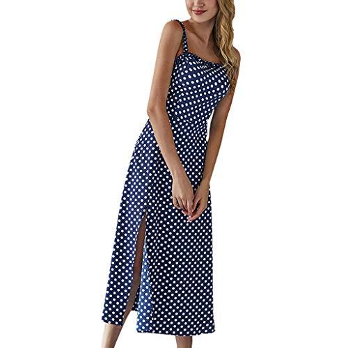 Saihui_Women Dress Damen Maxikleid, Vintage, gepunktet, für Sommer, Strand, Spaghettiträger, ärmellos, lässig, Boho Swing -