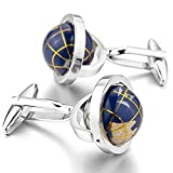 #3: Peora Really Spins Rhodium Plated Blue Globe Earth Cufflinks For Men