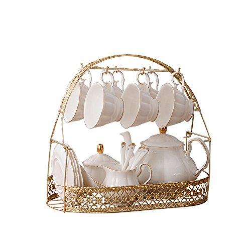 Ufengke-ts 22 pièces Blanc porcelaine anglaise Ensemble à thé, DE Phnom Penh Tasse à café et soucoupe en céramique, Théière Pot à lait Sucrier en métal support, pour une fête de mariage