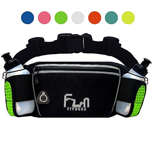 FunH2OBelt (Grün - Groß) Trinkgürtel Hydration Laufende Band mit Wasser Flaschen 175 ml - Hüfttasche für Outdoor und Sport, mit Wasserdichten Tasche für iPhone, iPod, Samsung & alle Smartphones
