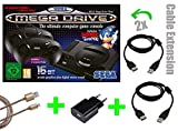 SEGA Mega Drive Mini KONSOLE [OFFIZIELLE VERSION] + 2x 2m Verlängerungskabel von LOCK NESS + USB NETZTEIL+ 3m Micro USB Kabel