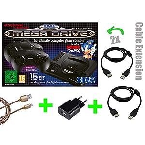 SEGA Mega Drive Mini KONSOLE [OFFIZIELLE VERSION] + 2x 2m Verlängerungskabel von LOCK NESS® + USB NETZTEIL+ 3m Micro USB Kabel