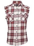 SOOPO Herren Ärmellose Kariert Flanell Hemden Freizeithemd aus Baumwolle Sleeveless T-Shirt(rot&beige,L)