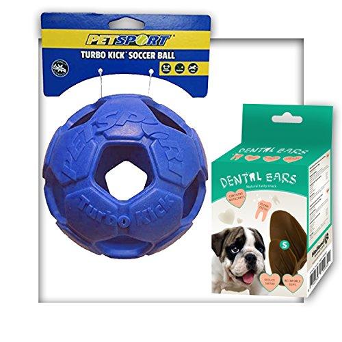 Hundespielzeug Turbo Kick Soccer Ball mit Kauleckerli Blau Ball Aktivspielzeug 10 cm Durchmesser