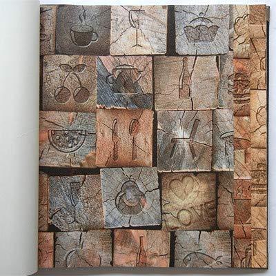 KYKDY New Classic Vintage Tapeten wasserdichtem PVC-Wallpaper 3D Bar Kammer Kontakt Papier 3D Wall panels Vinyl Wood Tapete Rollen, 16011, 53 CM X 10 M -