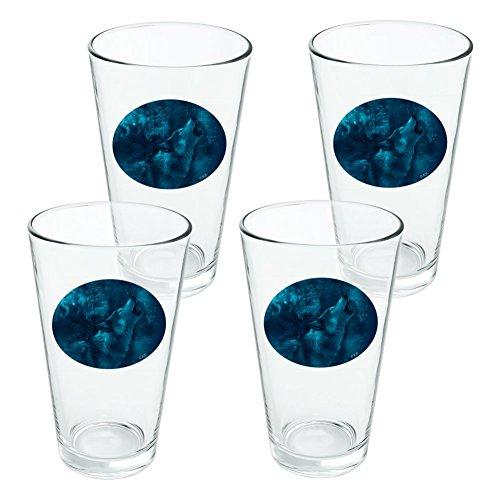 Heulender Wolf Howling Blue Moon Wölfe Neuheit Klauenhammer, Pint Trinken aus Hartglas–Set von 4 (Blue Moon Glas)