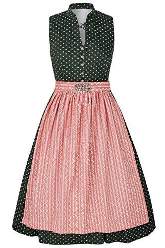 Gwandlalm Damen Waschdirndl hochgeschlossen grün mit Broschenschürze rosa, grün, 36