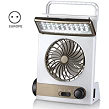 Soulitem Ventiladores de Mesa de enfriamiento Solar multifuncionales 3 en 1 con lámpara de Mesa LED