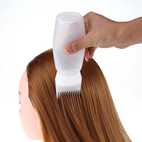 Toamen Pinceau applicateur Bouteille chaude de colorant de cheveux Salon de teinture coloration des cheveux Bouteilles souples Blanc