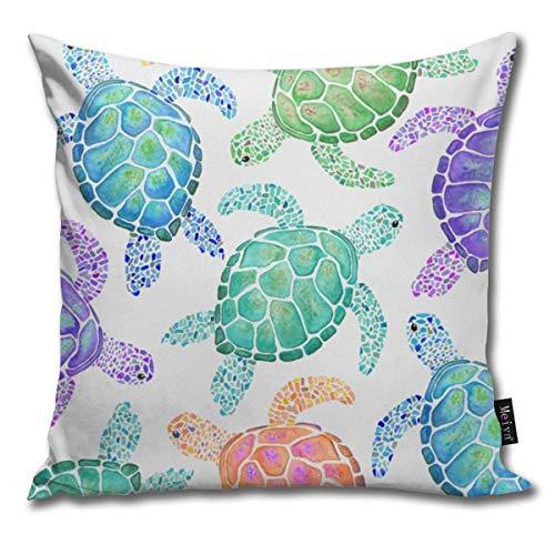 QMS CONTRACTING LIMITED Baumwolle Kissenbezug, Dekorative Atmungsaktiv Kissenbezüge Dekokissen deckt Für Home Auto Bett Sofa Büro Dekor(18 x 18) - Sea Turtle Colour -