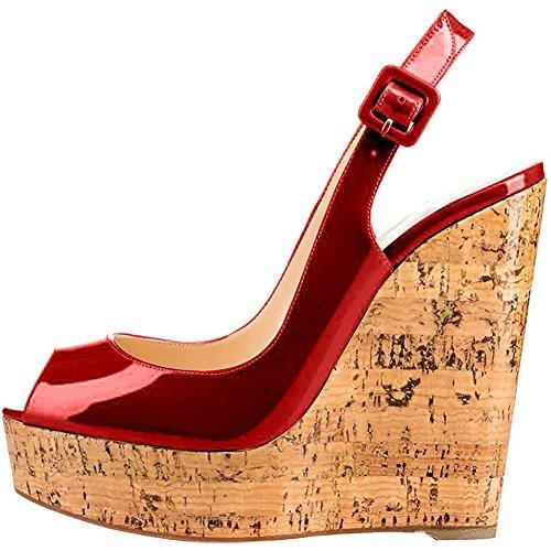 EKS Damen Keilabsatz Peep Toe Plattform Schnalle Holz Plattform Keil Sandalen Burgund 38 EU (Heels Keil Plattform High Sandalen)