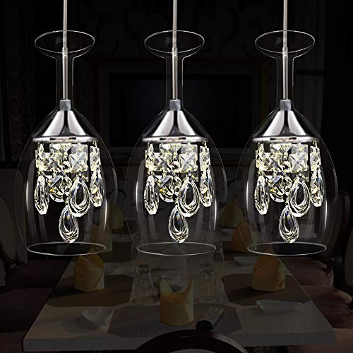 Einstellbare Led 3 Kopf Kristall Pendelleuchte, Luxus Europäischen Restaurant Weinglas Dekorative...