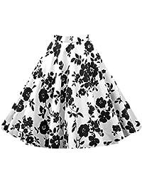 Para Mujer Vintage Floral Swing Full Circle Casual Falda Corto Retro Vestidos Blanco L