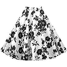 Para Mujer Vintage Floral Swing Full Circle Casual Falda Corto Retro Vestidos Blanco M