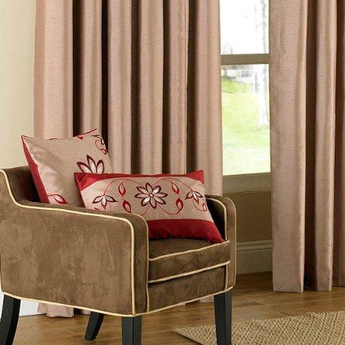 Riva Home Housse de coussin raffinée imitation soie Petra - broderie fleurs - taupe / rouge - 45 x 45 cm