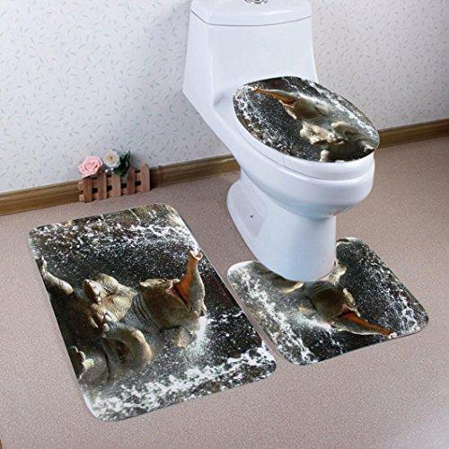 Teppich Für Badezimmer 3PCS / Set, Sansee, Badteppich + Deckel WC Abdeckung Matte + Badematte (Rechteck 50 x 80cm, U Typ 40 x 50cm, O Typ 40 x 50cm) (Material: Polyesterfaser, Y907-53 A)