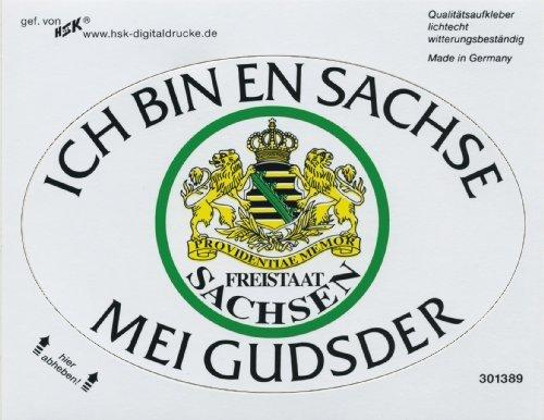PVC-Aufkleber oval - Ich bin en Sachse mei Gudsder - 301389 - Gr. ca. 13 x 8,8cm - Stick Button Emblem Wappen (Wappen Button)