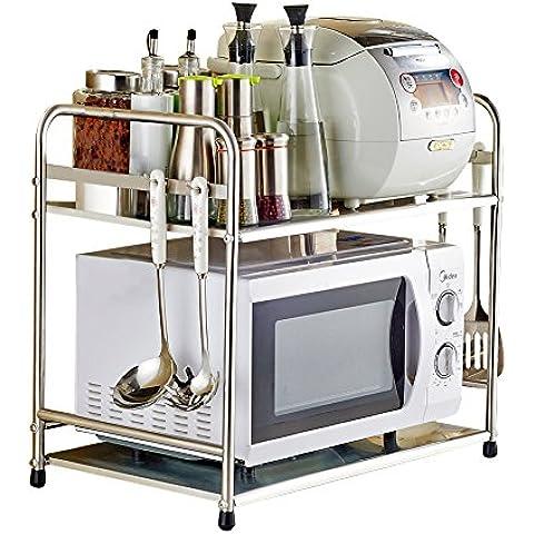 yuda Acero Inoxidable Horno de microondas rack de cocina de doble encimera y armario estante