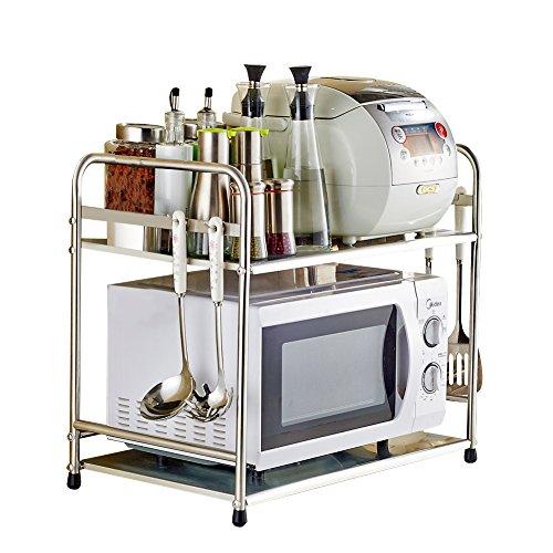 Yuda Estantería para horno microondas, fabricada con acero inoxidable, incluye dos estantes, ideal para encimera y armario de cocina,