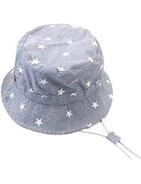Arcweg Sombrero De Algodón ala Ancha Bebé Gorros De Sol para Niños Transpirable Verano Plegable Bucket Hat con Barbijo 6 Meses A 12 Años