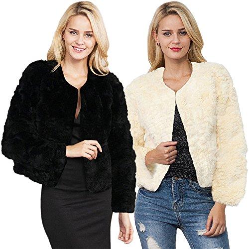 iBaste Corto Cappotto Donna Pelliccia Sintetica Invernale Elegante Faux Fur Giacca Autunno Nero