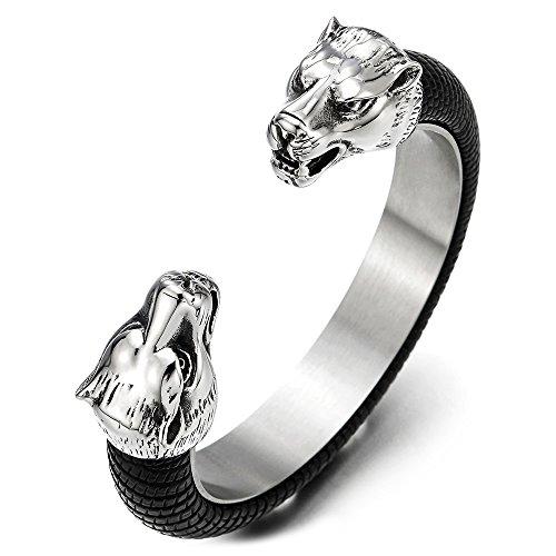 COOLSTEELANDBEYOND Edelstahl Wolfskopf Offenes Manschette Armband Herren, Armreif Intarsien mit Schwarze Leder, Elastische Verstellbare