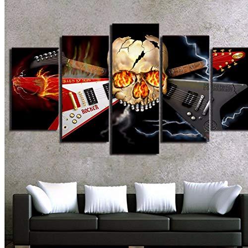 xzfddn Wandkunst Malerei Leinwand Gedruckt 5 Panel Heavy Metal Band Schädel Gitarre Kunstwerk Bild Wohnkultur Für Wohnzimmer Moderne Bild