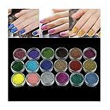 BYSTE 18 colori Nail art luccichio Polvere Per UV GEL Acrilico Polvere Decorazione Suggerimenti