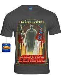 Justice League Superman and Batman Comic T-Shirt Rising Heroes Mens Grey Size S