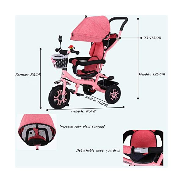 BGHKFF 4 In 1 Children's Hand Push Tricycle 6 Months To 6 Years 2-Point Safety Belt 360° Swivelling Saddle Children's Pedal Tricycle Folding Sun Canopy Childrens Tricycles Maximum Weight 25 Kg,Pink BGHKFF ★Material: Steel frame, suitable for children from 6 months to 6 years old, the maximum weight is 25 kg ★ 4 in 1 multi-function: can be converted into a stroller and a tricycle. Remove the hand putter and awning, and the guardrail as a tricycle. ★Safety design: Golden triangle structure, safe and stable;2 point seat belt + guardrail; rear wheel double brake 4