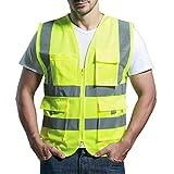 Atmungsaktives Netz Hohe Sichtbarkeit Warnweste Reflektierende Weste mit Taschen - Neon Gelb Größe L