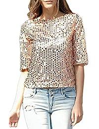 a506003fbaecf Mujer Camisas Primavera Otoño Blusas Sólidos Elegantes Colores Casual Mode  De Marca Lentejuelas Espumoso Tshirt Fashion