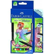Faber-Castell 114482 - Estuche de cartón con 8 ecolápices acuarelables, lápiz grafito, pincel y rotulador