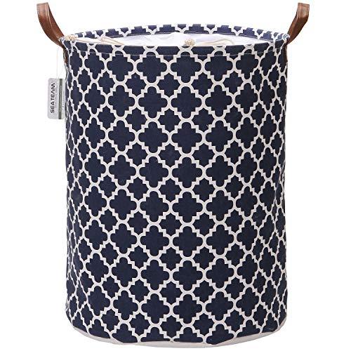 Sea Team Marokkanisches Gittermuster Wäschesammler Leinenstoff Wäschekorb Faltbarer Aufbewahrungskorb mit PU-Ledergriffen und Kordelzug-Verschluss, 50 x 40 cm, wasserdichte Innenseite, Textil