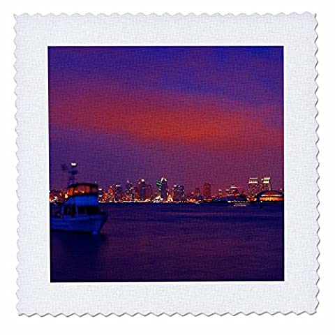 3dRose qs_21690_5 San Diego Skyline Sunset Quilt Square, 14 by 14
