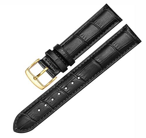 BONSTRAP Damen Leder Armband 16mm Schwarz mit Gold Dornschließe
