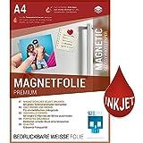 SKULLPAPER Premium A4 DIY-Magnetfolie magnetische Folie weiß bedruckbar bemalbar für alle metallischen Oberflächen zum Basteln, Beschriften und für individuelle DIY-Motive wie Magnetbild / Magnetschild für Innenbereich - für Inkjet Tintenstrahldrucker (10 Blatt)