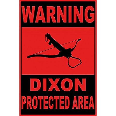 Zombies - Warning Dixon Protected Area Cuadro, Lienzo Montado Sobre Bastidor (120 x 80cm)