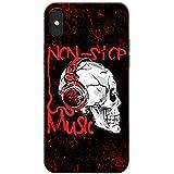 Grunge Cult Fun Tête de mort Art Hipster Musique téléphone Housse/Coque rigide pour Apple téléphone portable, Non Stop Music Headphone Skull, Apple iPhone X (iPhone 10)