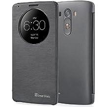 GreatShield® LG G3 Funda [LX SHIFT] [Sleep / Wake Función] ajuste de la PU de la cubierta del tirón del cuero delgada con el Círculo rápida Ventana Cut-Out para LG G3 (Negro)