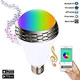 Miric Ampoule intelligente Sparin, Ampoule LED RGB avec 7 couleurs E26/E27 avec Haut-Parleur Bluetooth, Musique Audio Minuterie Intégré Compactible avec Appareils iOS et Android pour Maison et Scène