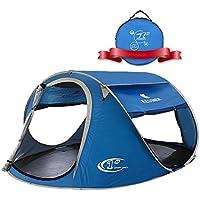 ZOMAKE Plegable Tienda de Playa para 3-4 Personas, Portatil Pop Up Tienda de Playa para Bebé Protección Solar Anti UV 50+ (Azul)