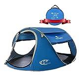 ZOMAKE Zelt Pop Up Strandmuschel, Extra Leicht Strandzelt mit Boden UV 80 Sonnenschutz - Familie Tragbares Strand-Zelt - XXL Beach Tent for Baby ( Blau )